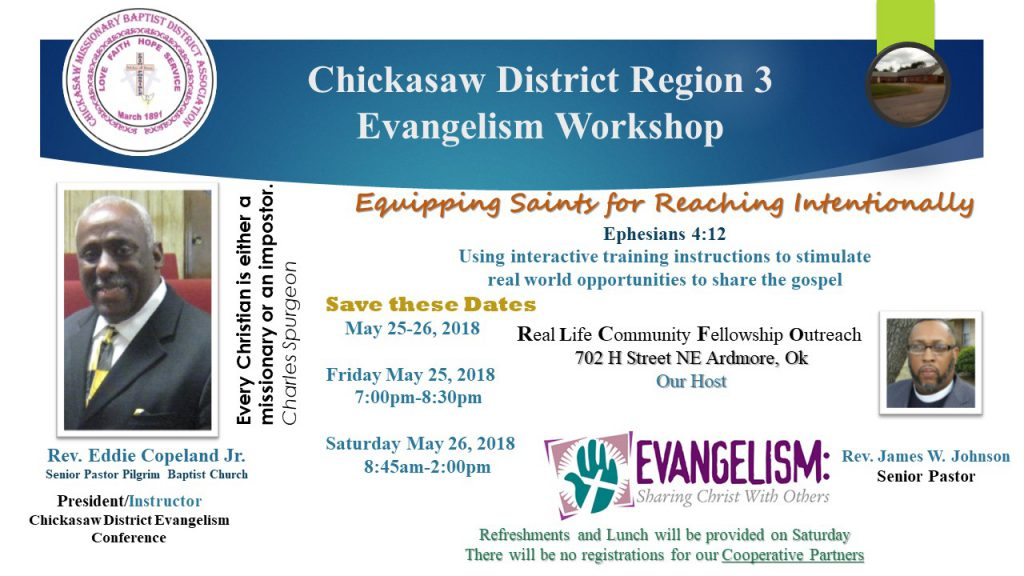 Evangelism Workshop Region 3 @ Real Life Community Fellowship Outreach | Ardmore | Oklahoma | United States